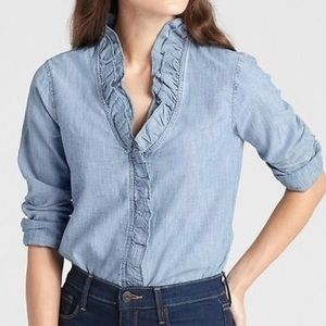 GAP Tops - 𝐆𝐀𝐏 Ruffle Trim Top